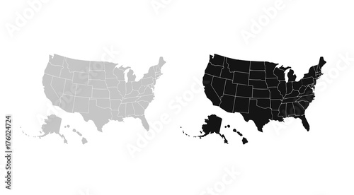 Wall mural Blank similar USA map isolated on white background. United States of America country. Vector template for website, design, cover, infographics. Graph illustration