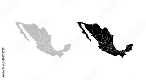Wall mural Mexico Regions Map