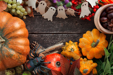 Halloween and Thanksgiving day traditional holiday table ornament decoration. space for text