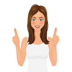 Young woman making a thumbs up gesture. Smiling pretty girl in white t-shirt vector illustration.