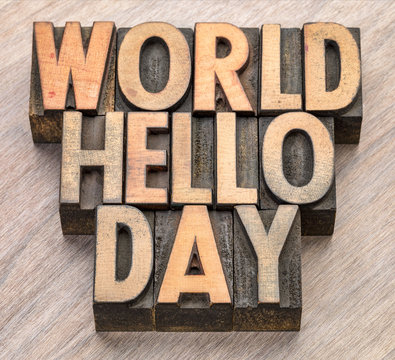 World Hello Day word abstract in wood type