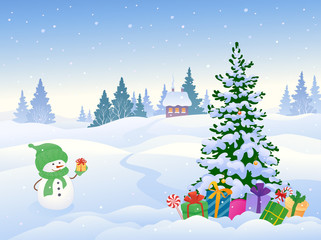Snowman and Christmas landscape