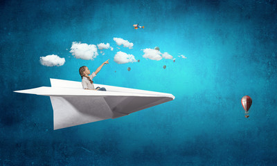 Child dreaming to be pilot. Mixed media