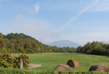 Hay Bales in a green field with hills showing fall foliage in the background. The blue sky has thin clouds.