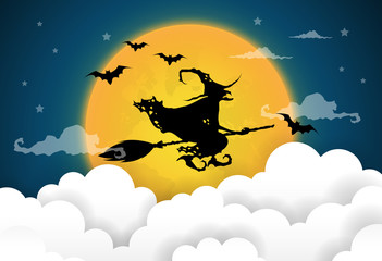 vector illustration of a witch silhouette over a dark halloween night sky.