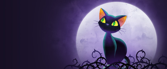 black cat with Moon illustration for halloween background use