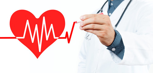 Male doctor drawing heart and chart heartbeat