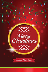 Christmas light vector background. Greeting card or invitation. Eps 10.