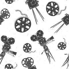 Camera and film reel vintage seamless pattern, handdrawn sketch, retro movie industry, vector illustration
