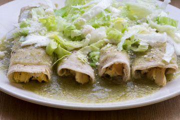 Authentic Mexican green enchiladas