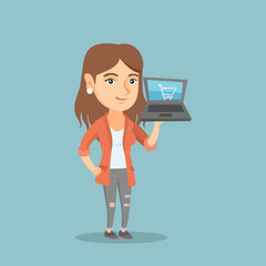 Young caucasian woman using a laptop for online shopping. Smiling woman holding a laptop with a shopping trolley on a screen. Woman doing online shopping. Vector cartoon illustration. Square layout.