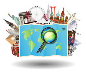 magnifying glass on map with world travel landmark