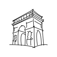 Arc de Triomphe black line vector illustration isolated on white background