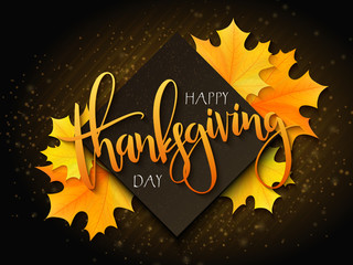 Vector thanksgiving greeting card with hand lettering label - happy thanksgiving day - and autumn doodle leaves and realistic maple leaves on blurred background