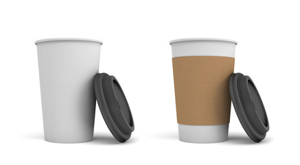 3d rendering of two white paper coffee cups with open black lids, one of the cups with a brown holding stripe.