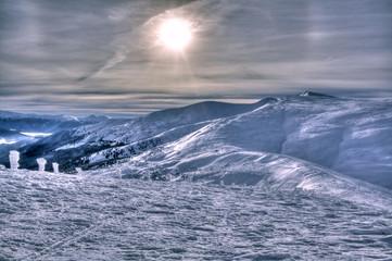 Fantastic winter landscape. Carpathian mountains, Ukraine.