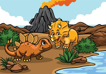 cartoon of triceratops and stegosaurs in the nature