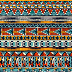 Tribal seamless ornament in vibrant colours. Abstract background in african style. Hand drawn vector illustration EPS 10.