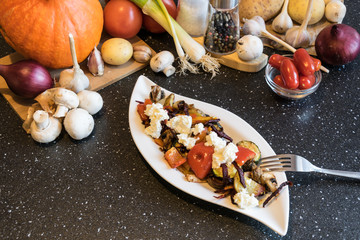 Delicious grilled vegetables with excellent goat cheese