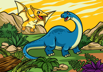 happy cheerful cartoon of brontosaurus and pterodactyl