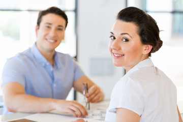 Happy entrepreneur or freelancer in an office or home