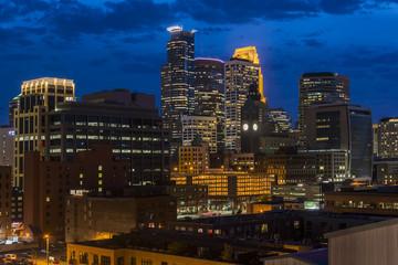 Minneapolis downtown skyline at night, Minnesota, USA