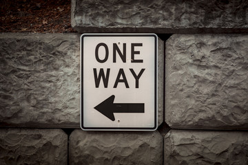 One Way Road Sign with Arrow