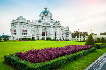 The Ananta Samakhom Throne Hall with field of flowers in Thai Royal Dusit Palace, Bangkok, Thailand.