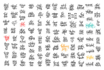 100 hand lettering inscription about autumn sale and halloween