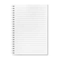 Blank realistic vector horizontal lined notebook with shadow. Copybook with blank opened ruled page on metallic spiral, dairy or organizer mockup for your text