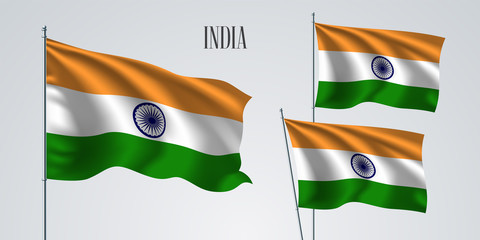 India waving flag set of vector illustration