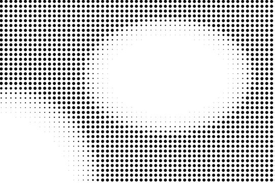 Black and white halftone vector background. Monochrome dotted texture for retro overlay.