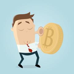 businessman loves bitcoin