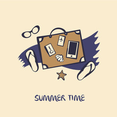Hand drawn vector concept image of logo for summer time. Illustration of glasses, baggage. Print on t-shirt, poster, banner for travel, design agency. baggage.