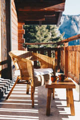 Fototapete - Morning in a chalet in the Swiss Alps