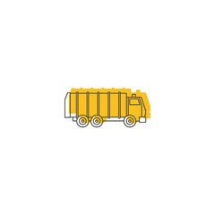 Garbage truck icon, doodle style