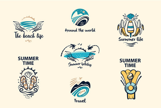 Freehand drawn concept image with text Summer vacation with children. Element design corporate identity, banner, poster, flyer for tourism business agency, operator, company
