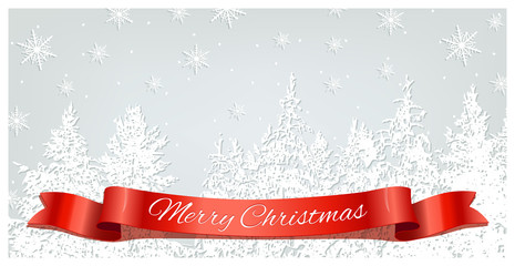 Merry Christmas postcard with red ribbon on snowing forest background. Vector Christmas template.