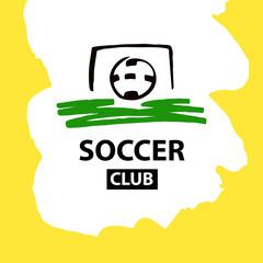 Sketch vector illustration. Element design poster, banner, card, logo, certificate template for football, soccer school, hobby. Ball in goal