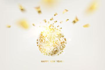 Golden confetti falls on the background. Ball with gzhel and khokhloma texture. Happy new year 2018. Holiday card. Template for your design. Vector illustration.