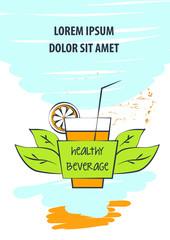 Sketch vector illustration. Template hand-drawn banner, poster, logo for menu cafe, bar, restaurant with healthy beverage, fresh juice. Glass with lemon
