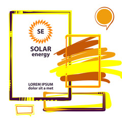 Vector template logo, banner, poster for efficiency, eco, sun, energy business. Transport, ecological company use of natural resource