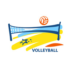 Volleyball team, school, club template logo. Vector sketch illus