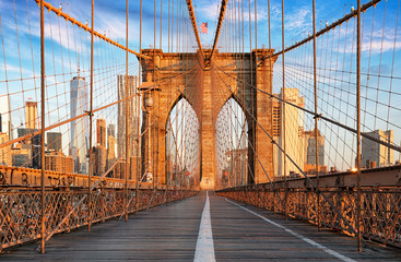 Autocollant pour porte Lieux connus d Amérique Brooklyn Bridge, New York City, nobody