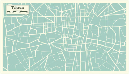 Tehran Iran Map in Retro Style.