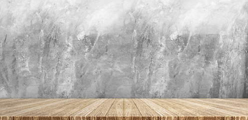 Wood plank table top at grey grunge concrete wall background,Mock up for display or montage of product,Banner or header for advertise on social media.
