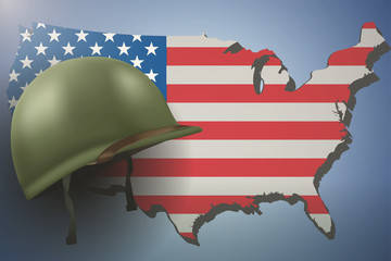 Military helmet on the background of the US flag and American continent. Veterans day Poster of WWII or modern wars. Vector Illustration.