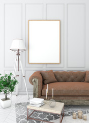mock up poster frame in light interior background with sofa, carpet and table, classic style, 3D render