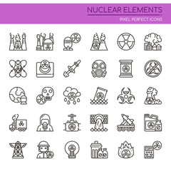 Nuclear Elements , Thin Line and Pixel Perfect Icons.