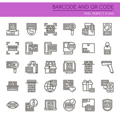 Barcode and Qr code , Thin Line and Pixel Perfect Icons.